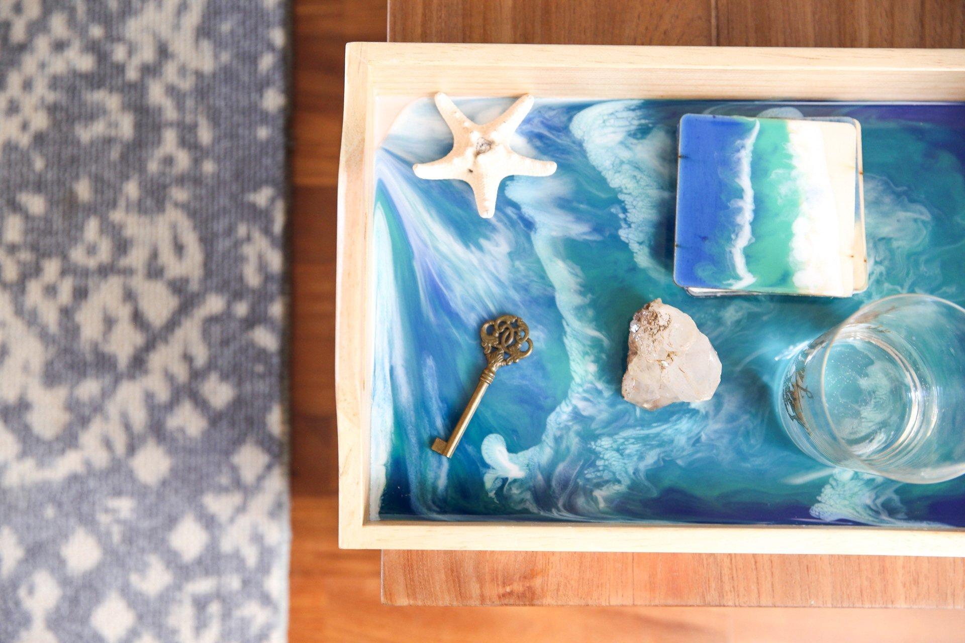 Bandeja mediana marmoleado imitacion Mar
