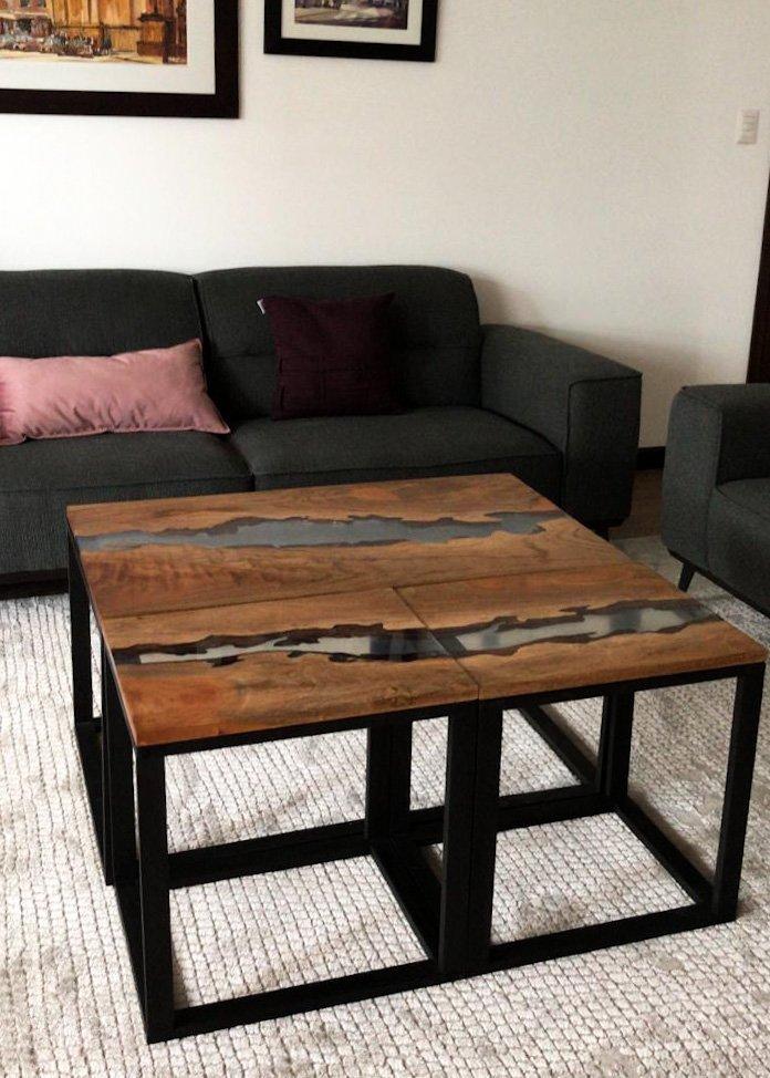 Mesa de sala 3 piezas con rio de resina transparente